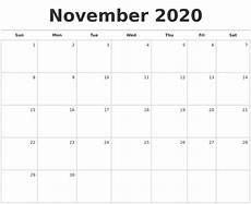 November 2020 Calendar Printable Free November 2020 Blank Monthly Calendar