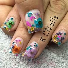 Acrylic Nails With Flower Design Clear Acrylic Overlay With Encapsulated Dried And Pressed