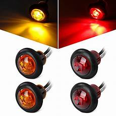 4 Inch Round Led Lights Hole Size Partsam 2 Pcs Red Amp 2 Pcs Amber 3 4 Inch Mount Clear Lens