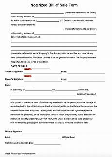Bill Of Sale With Notary Free Notarized Bill Of Sale Form Pdf