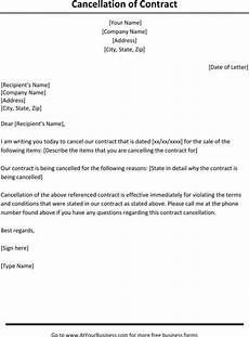 Cancel Contract Letter Template Contract Cancellation Letter Template Business