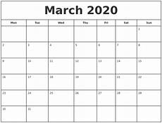 March 2020 Calendar Printable March 2020 Print Free Calendar