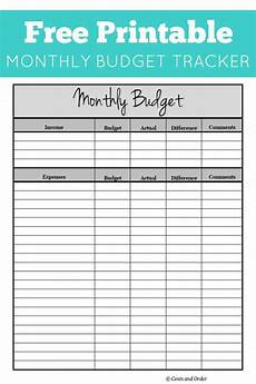 Budget Monthly Bills Free Monthly Budget Printable