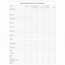 Remodel Worksheet Remodel Worksheet Bathroom