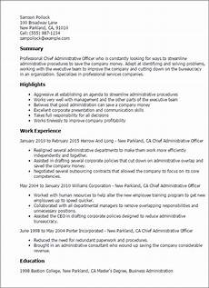Resume Format For Admin Officer Chief Administrative Officer Resume Template Best Design