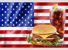 Hamburger And Cola With Usa Flag. Royalty Free Stock