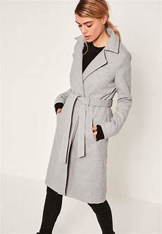 stylish coats for greys missguided grey belted tailored faux wool coat in gray lyst