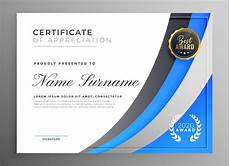 Free Certificates Of Appreciation Templates Professional Blue Certificate Of Appreciation Template