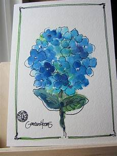 Water Color Cards Blue Hydrangea Bloom Watercolor Card