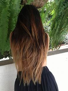 Dark Brown Hair Dip Dyed Light Brown Love The Dark Brown On Top With The Light
