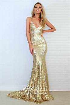 Light Gold Sequin Dress Full Bright Gold Sequin Mermaid Floor Length Formal Dress