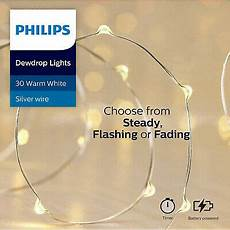 Philips 30ct Christmas Battery Operated Led Dewdrop Fairy String Lights Philips 30ct Christmas Led Dewdrop Lights 4 Function