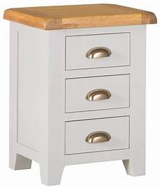 hshire grey painted oak large 3 drawer bedside table