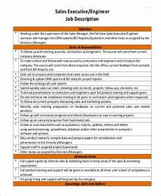 What Is A Sales Executive Sales Engineer Job Description Sample 9 Examples In Pdf