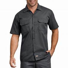dickies sleeve work shirts for dickies s charcoal flex relaxed fit sleeve twill