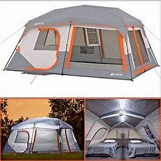 camping tent with built in lights ozark trail 10 person 2 room instant cabin tent led