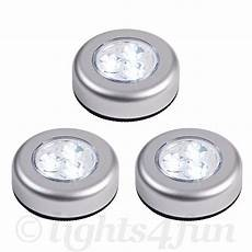 Small Stick On Lights Set Of 3 Round Led Battery Operated Stick On Under Cabinet