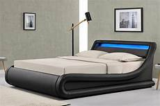 madrid ottoman storage led lights bed frame black faux