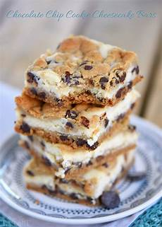 chocolate chip cookie cheesecake bars on timeout