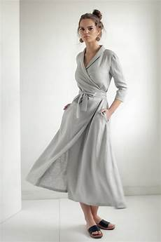 linen wrap dresslinen dress shawl collar linen dress with