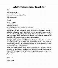 Cover Letter Sample For Program Assistant Free 9 Administrative Assistant Cover Letters In Ms Word