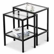 modern metal black glass side end nesting tables with