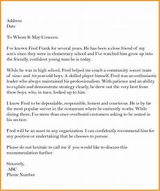 Recommendation Letter Template 5 Free Sample Business Letter Of Recommendation Templates