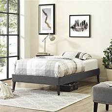 gray fabric upholstered size platform bed frame with
