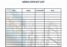 Media Contact List Template 16 Free Media Contact List Templates Office Templates
