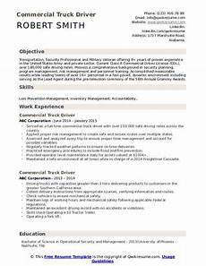 Resume Objective For Truck Driver Commercial Truck Driver Resume Samples Qwikresume