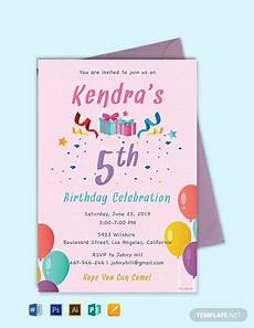 Birthday Invitations Templates Free Download Free 5th Birthday Invitation Template Word Psd