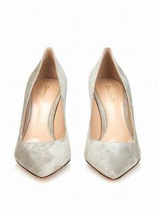 Light Grey Pumps Gianvito Rossi Business Point Toe Suede Pumps In Gray Lyst