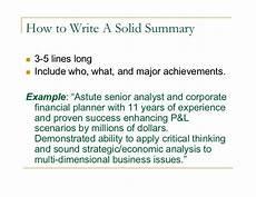 How To Write A Career Summary Job Objective Career Summary