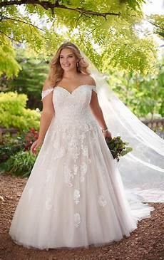 lace ballgown plus size wedding dress essense of