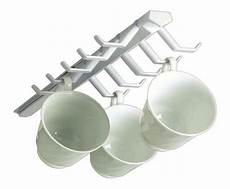 cabinet sliding coffee cup rack white mug hanger