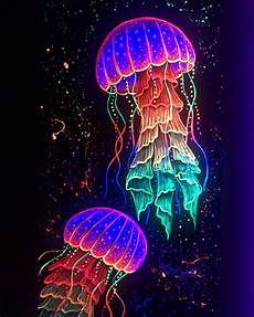 Cheap Black Light Paint Blacklight Jellyfish Painting In Neon Paint Etsy