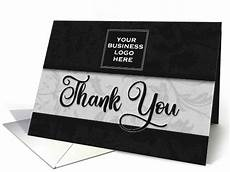 Business Thank You Cards With Logo Business Thank You Square Logo In Classic Black Damask