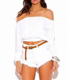 white tops for sleeve feetures sleeve shoulder crop top in white amour