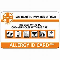 Deaf Or Hearing Impaired Allergy Id Card Hearing Impaired Or Deaf Walmart Com