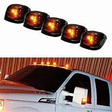 Black Clearance Lights 5 Black Smoked Cab Roof Marker Running Lamps W Amber