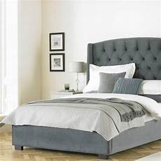 buckingham wing headboard grey velvet bed frame fads