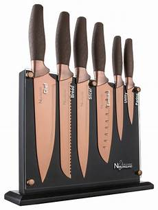 Designer Knife Set 7 Piece Titanium Coated Knife Block Set Contemporary