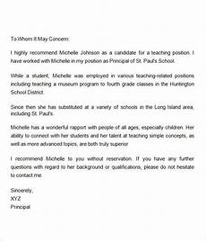 Letter Of Recommendation For Principals Sample Letter Of Recommendation For Teacher 18