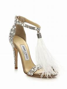 Designer Shoes With Feathers Lyst Jimmy Choo Viola 110 Embellished Suede Feather