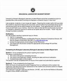 Incident Report Examples Biological Laboratory Incident Report