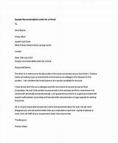 Sample Letter Of Recommendation For A Friend Free 38 Samples Of Recommendation Letter Templates In Pdf