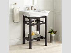 "24"" Modern Console Sink   Carrara Marble Top   Bathroom"