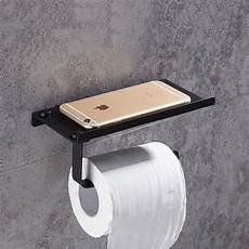 black 304 stainless steel paper holder with phone shelf