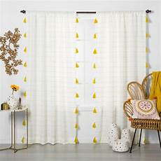 Target Light Filtering Curtains Contrast Stripe Light Filtering Curtain Panel With Tassels
