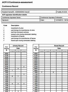 Continence Assessment Chart 8 4 1 Generate An Acfi Report